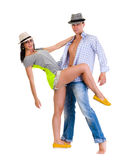 Elegant young couple dancing on white background Stock Photos