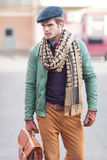 Elegant young fashion casual man walking Stock Images