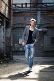 Elegant young fashionable attractive man outdoor Stock Photography