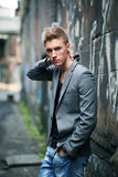 Elegant young fashionable attractive man outdoor Royalty Free Stock Photos