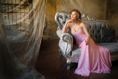 Elegant young girl in a pink long evening dress Royalty Free Stock Images