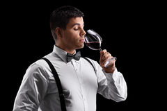 Elegant young guy drinking wine Royalty Free Stock Photography