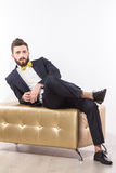 Elegant young handsome man in black classic suit with yellow bow-tie Royalty Free Stock Images