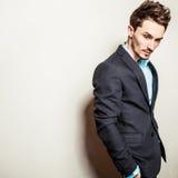 Elegant young handsome man in costume. Studio fashion portrait. Stock Photos