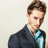 Elegant young handsome man in costume. Studio fashion portrait. Stock Image
