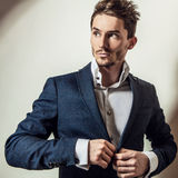 Elegant young handsome man in costume. Studio fashion portrait. Stock Photography