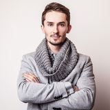 Elegant young handsome man in grey costume. Studio fashion portrait. Stock Photos
