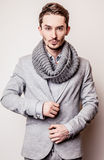 Elegant young handsome man in grey costume. Studio fashion portrait. Stock Image