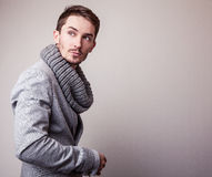 Elegant young handsome man in grey costume. Studio fashion portrait. Royalty Free Stock Images