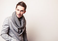 Elegant young handsome man in grey costume. Studio fashion portrait. Stock Photos