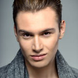 Elegant young handsome man. Studio fashion emotional portrait. C Royalty Free Stock Image