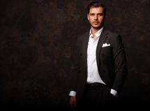 Elegant young handsome man. Studio fashion portrait Royalty Free Stock Photography
