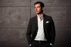 Elegant young handsome man. Studio fashion portrait Royalty Free Stock Images