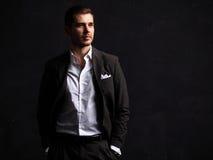 Elegant young handsome man. Studio fashion portrait Stock Photography