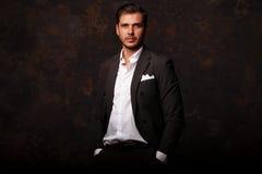 Elegant young handsome man. Studio fashion portrait Royalty Free Stock Photo