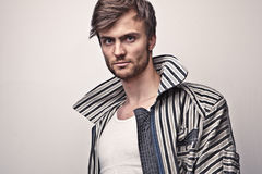 Elegant young handsome man. Studio fashion portrait. Stock Photography
