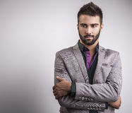 Elegant young handsome man. Studio fashion portrait. Royalty Free Stock Image