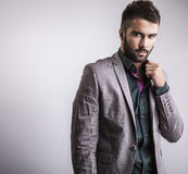 Elegant young handsome man. Studio fashion portrait. stock photography