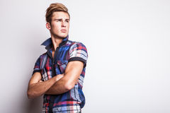 Elegant young handsome man. Studio fashion portrait. Stock Image