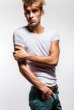 Elegant young handsome man. Studio fashion portrait. royalty free stock photo