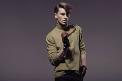 Elegant young handsome man with stylish haircut Royalty Free Stock Images