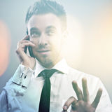Elegant young handsome model. Multicolored digital painted image portrait of young attractive businessman. Royalty Free Stock Photos