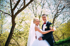 Elegant young happy wedding couple is sitting at green grass on Royalty Free Stock Image