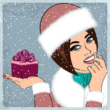 Elegant young and happy woman in winter, retro Christmas card Stock Photography