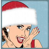 Elegant young and happy woman in winter, retro Christmas card Royalty Free Stock Image