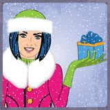 Elegant young and happy woman in winter, retro Christmas card Royalty Free Stock Images