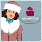 Elegant young and happy woman in winter, retro Christmas card Stock Images