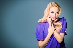 Elegant young lady. Portrait of a beautiful blonde lady, Beauty, fashion royalty free stock photography