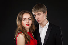 Elegant young love couple together wearing suit Royalty Free Stock Photo