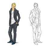 Elegant young man in business suit. Vector illustration Stock Photography