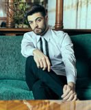 Elegant young man indoor. Elegant young man with beard sitting on a sofa Stock Photo