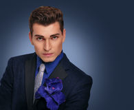 Elegant young man in jacket. Fashion model. Royalty Free Stock Images