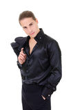 Elegant young man macho in black Stock Photos