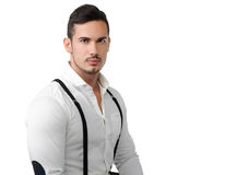 Elegant young man with white shirt and suspenders Royalty Free Stock Photos