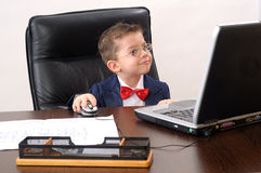 elegant young manager working on modern notebook Stock Photo