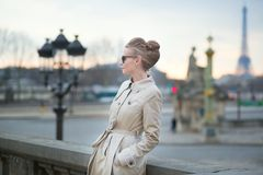 Elegant Parisian woman outdoors Stock Image