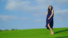 An elegant young pregnant woman is standing on a green meadow against a blue sky background stock video footage