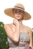 Elegant young summer brunette woman. Royalty Free Stock Photos