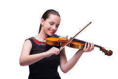 The elegant young violin player isolated on white. Elegant young violin player isolated on white Royalty Free Stock Images