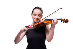 The elegant young violin player isolated on white. Elegant young violin player isolated on white Royalty Free Stock Image