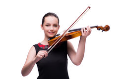 The elegant young violin player  on white. Elegant young violin player  on white Royalty Free Stock Photography