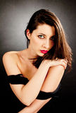 Elegant young woman. Elegant fashionable young woman with sensual red  lips Stock Photos