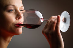 Elegant young woman having a glass of red wine Royalty Free Stock Photography