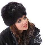 Elegant young woman outdoor in winter Stock Image