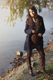 Elegant young woman posing autumn dressed Stock Photography
