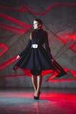 Elegant young woman posing in coat, hoto Studio Stock Image